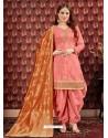 Peach Designer Embroidered Punjabi Patiala Suits
