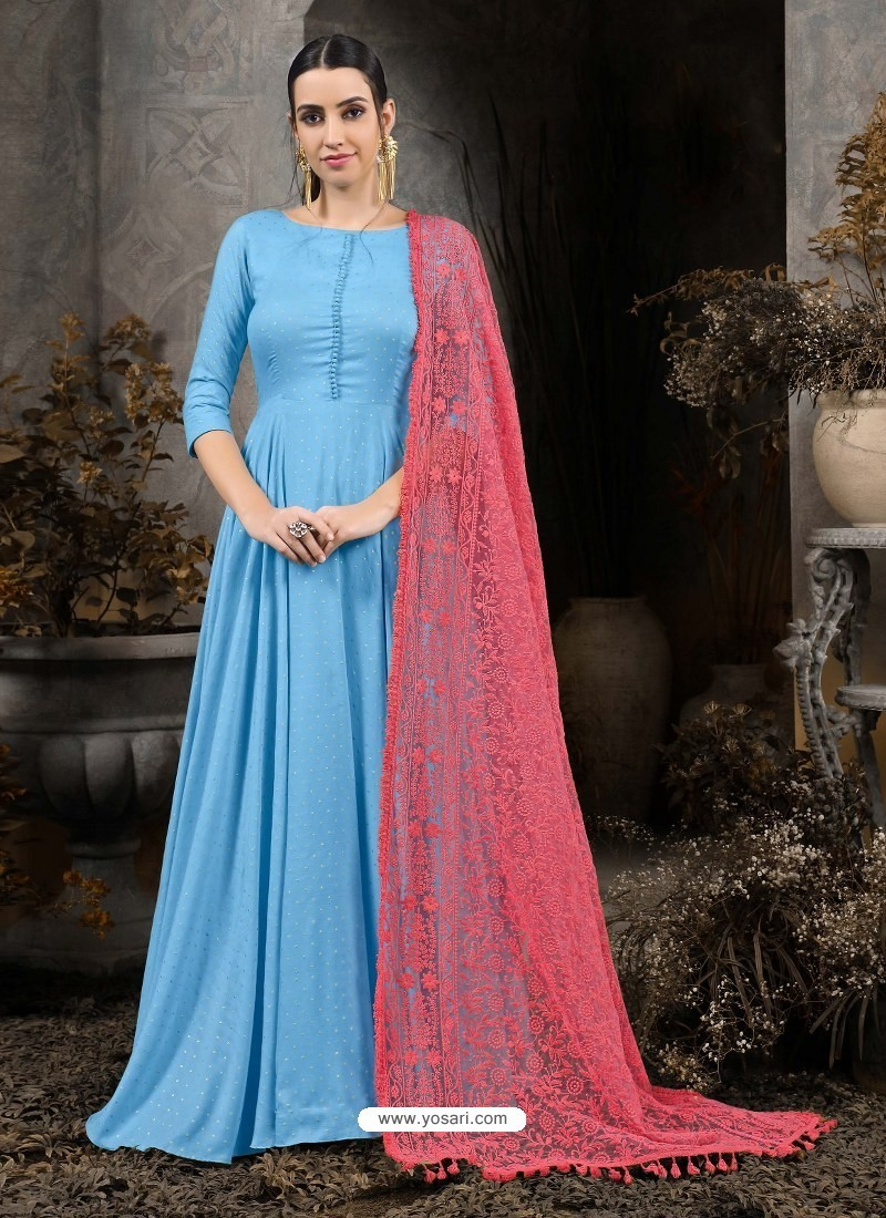 Blue Designer Party Wear Gown for Girls