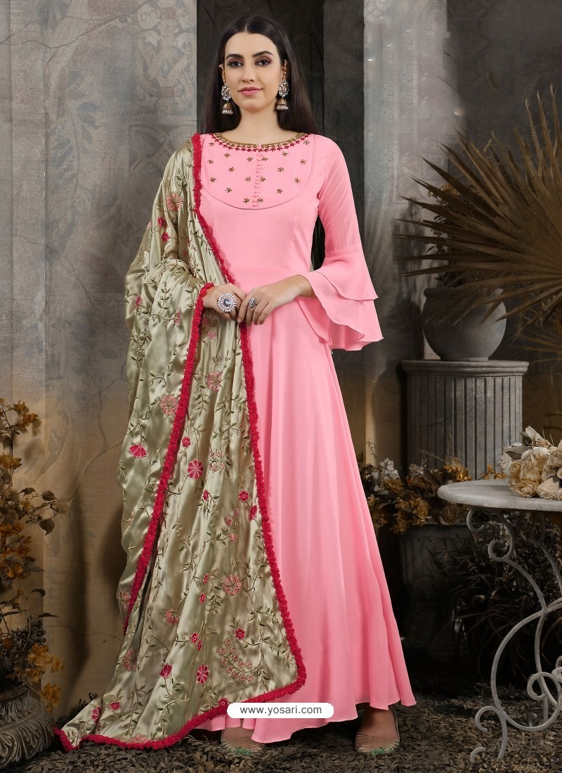 Pink Designer Party Wear Gown for Girls