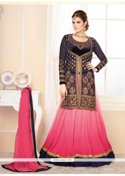 Blue And Pink Shaded Velvet Lehenga Choli