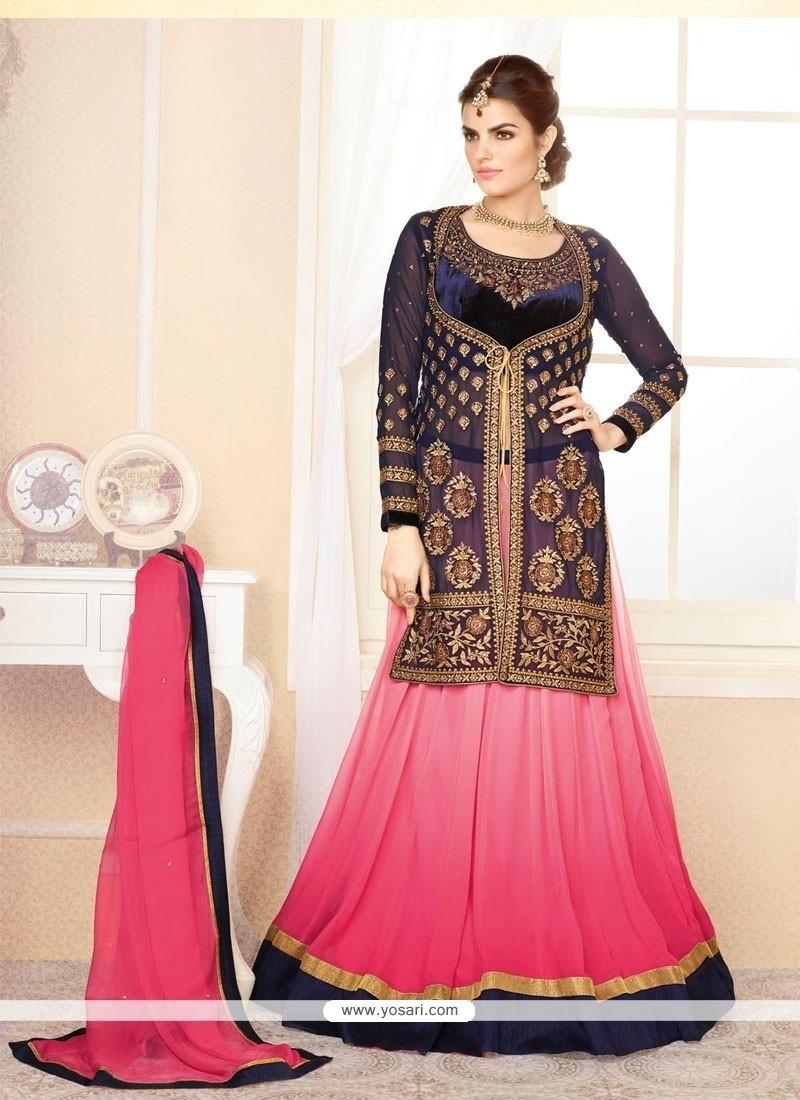 Blue And Pink Shaded Velvet Lehenga Choli