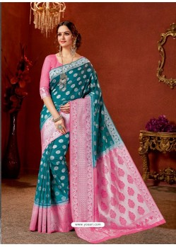 Teal Blue Designer Fancy Silk Party Wear Sari With Zari Work