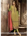 Refreshing Green Zari Work Pant Style Suit