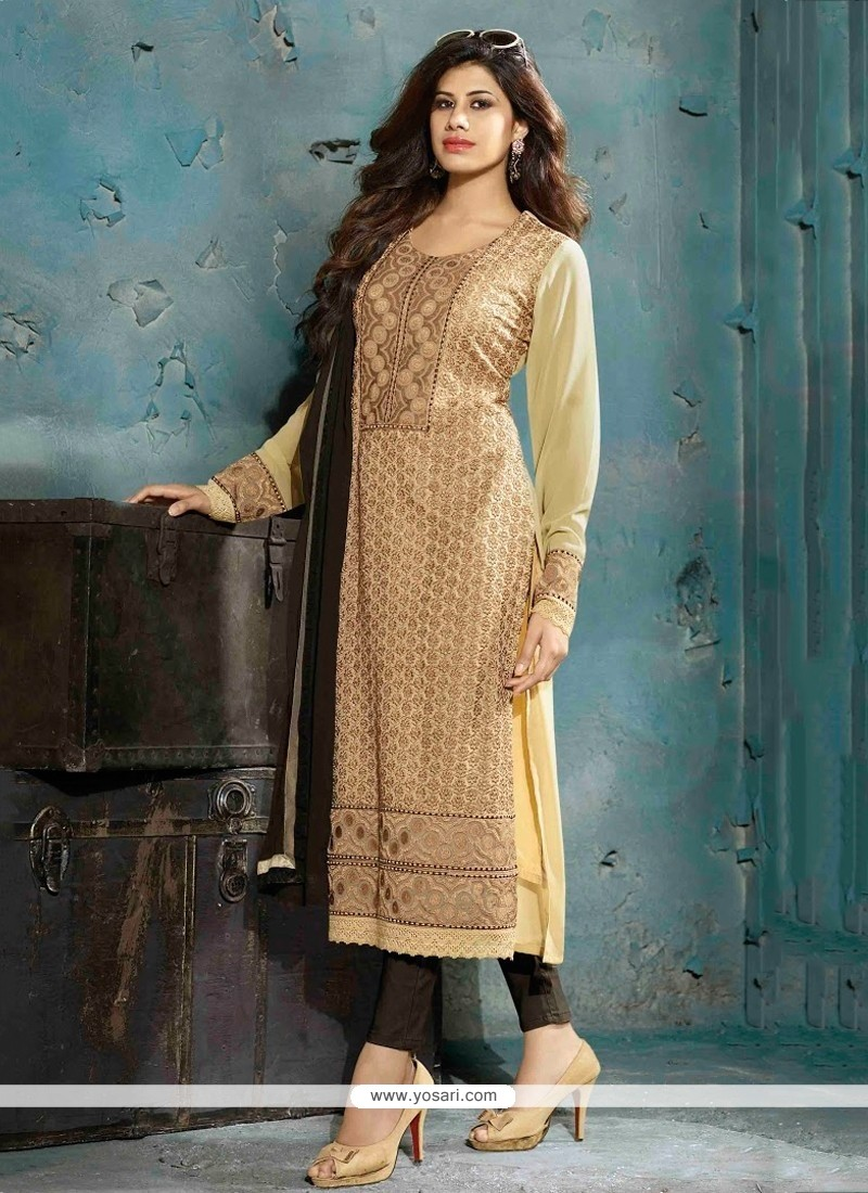 Miraculous Cream Georgette Pant Style Suit