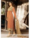 Classy Peach Georgette Pant Style Suit