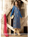 Pleasing Blue Zari Work Georgette Pant Style Suit