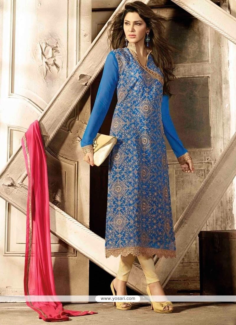 Pleasing Blue Zari Work Georgette Pant Style Suit
