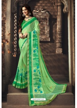 Green Designer Chiffon Casual Wear Sari