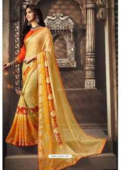 Yellow Designer Chiffon Casual Wear Sari