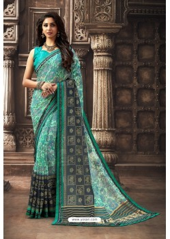 Turquoise Designer Chiffon Casual Wear Sari
