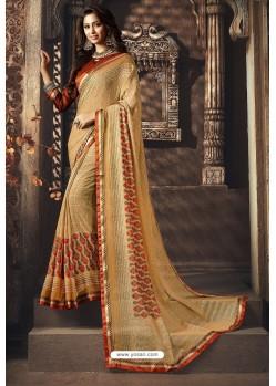 Cream Designer Chiffon Casual Wear Sari