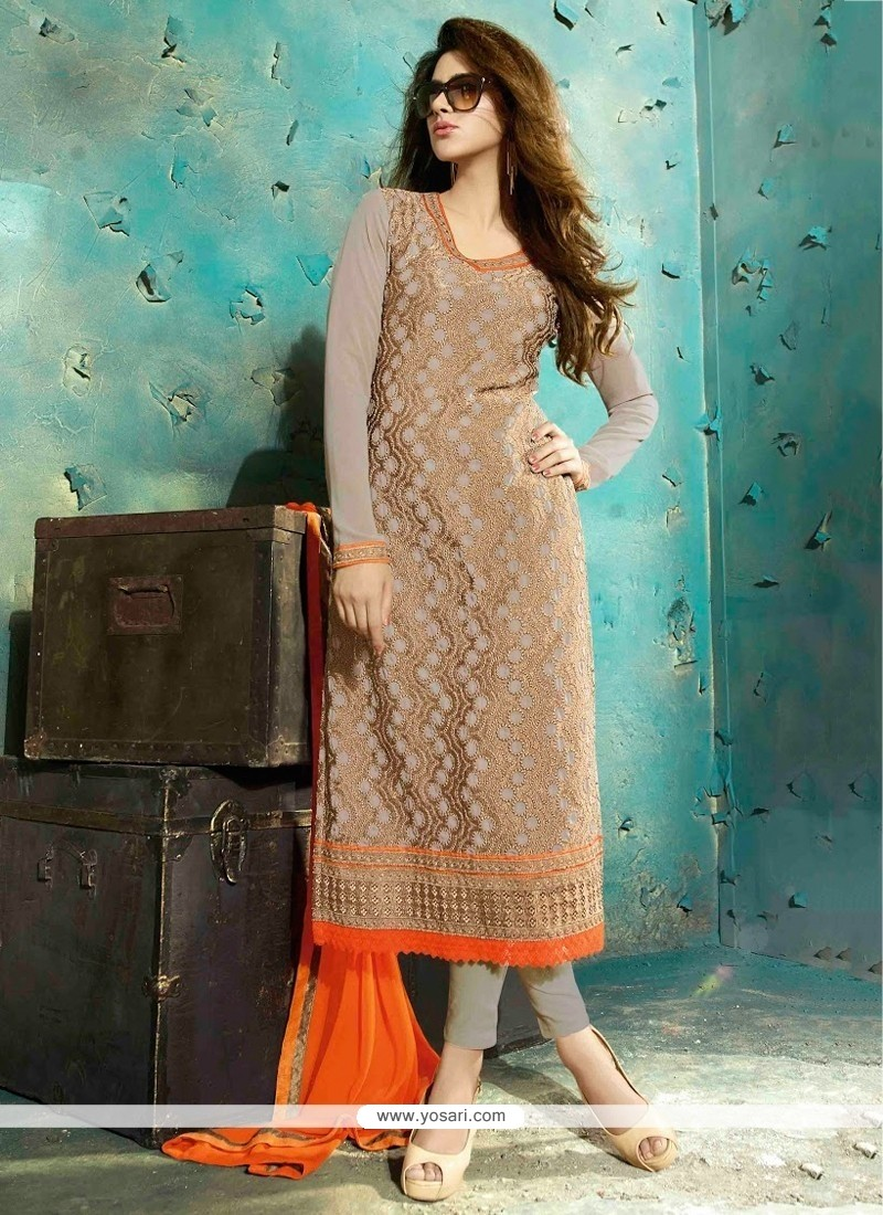 Pleasant Grey Georgette Pant Style Suit