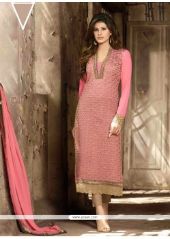 Stunning Pink Embroidery Work Pant Style Suit