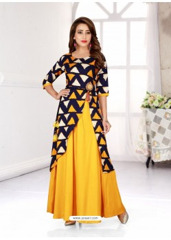 Yellow Latest Designer Readymade Kurti