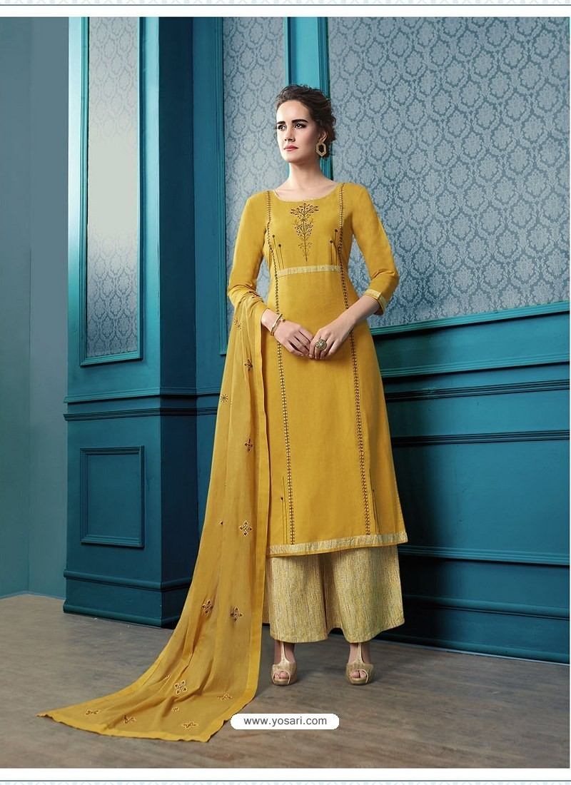 Yellow Designer Flex Cotton Palazzo Salwar Suit