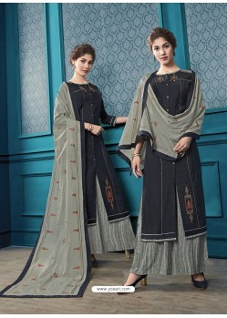Black Designer Flex Cotton Palazzo Salwar Suit