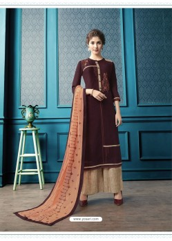 Wine Designer Flex Cotton Palazzo Salwar Suit