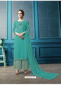 Sky Blue Designer Flex Cotton Palazzo Salwar Suit