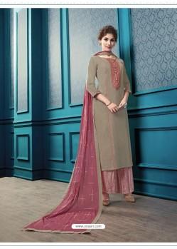 Beige Designer Flex Cotton Palazzo Salwar Suit