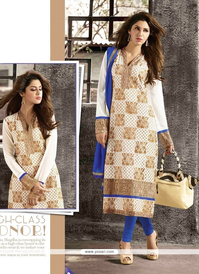 Stupendous White Georgette Churidar Salwar Suit