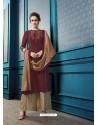 Maroon Designer Flex Cotton Palazzo Salwar Suit