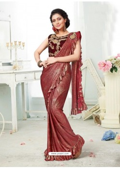 Wine Party Wear Designer Saree