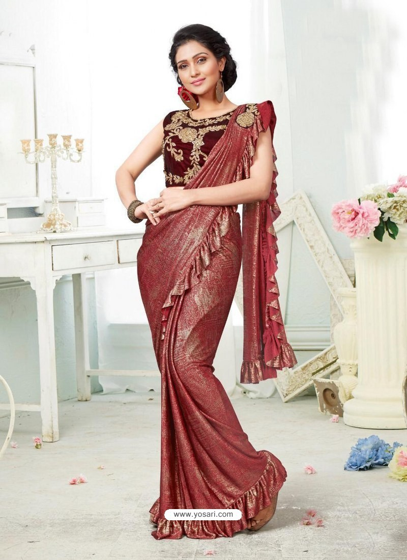 Wine Party Wear Designer Saree