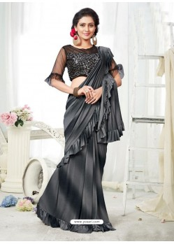 Grey And Black Party Wear Designer Saree