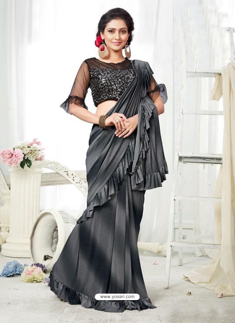Grey And Black Party Wear Designer Saree