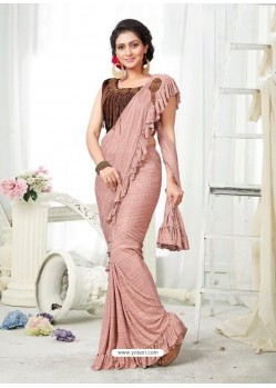 Peach Party Wear Designer Saree