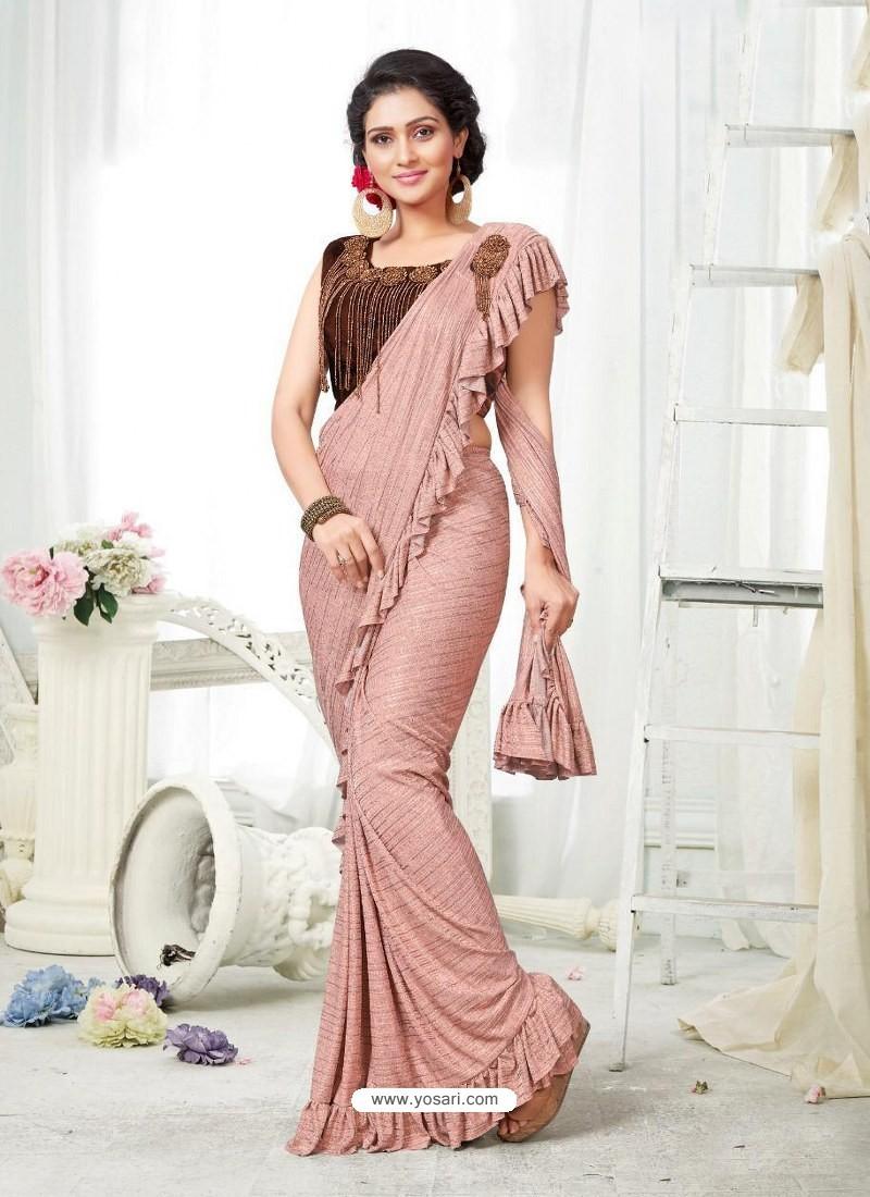 Peach Party Wear Designer Saree