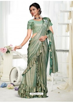Olive Green Party Wear Designer Saree