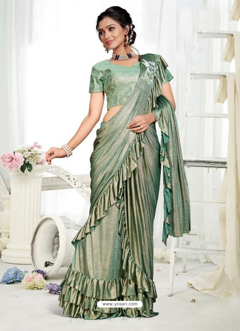 Olive Green Party Wear Designer Saree