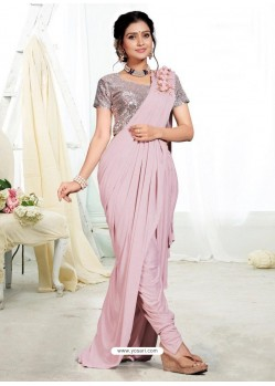 Baby Pink Party Wear Designer Saree