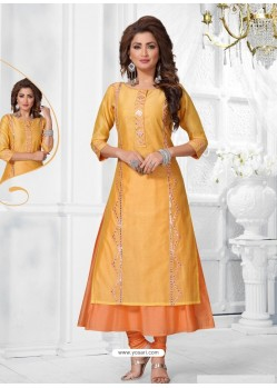 Orange Chanderi Designer Readymade Kurti