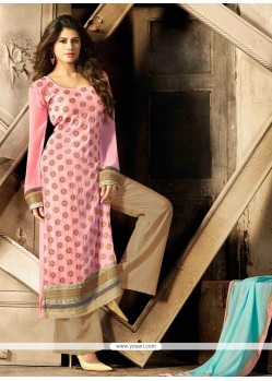 Celestial Pink Georgette Palazzo Salwar Suit
