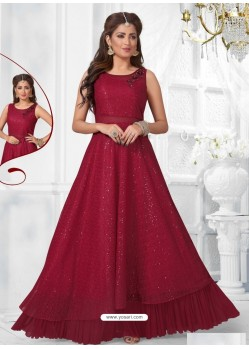 Maroon Net Designer Readymade Gown