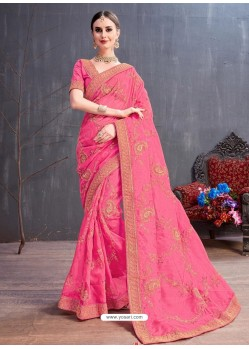 Light Pink Organza Embroidered Designer Saree