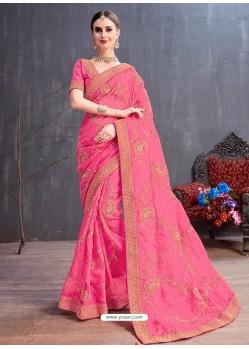 Light Pink Organza Embroidered Designer Saree
