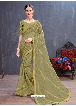 Mehendi Organza Embroidered Designer Saree