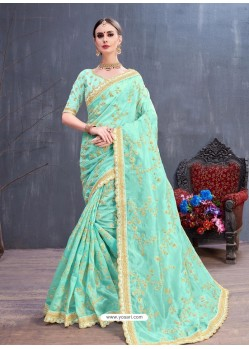 Aqua Blue Organza Embroidered Designer Saree