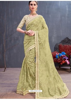 Olive Green Organza Embroidered Designer Saree