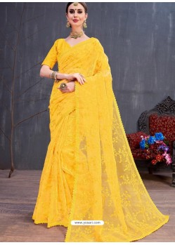 Yellow Organza Embroidered Designer Saree