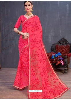 Red Organza Embroidered Designer Saree