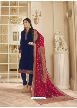 Navy Blue Georgette Satin Floral Worked Churidar Suit