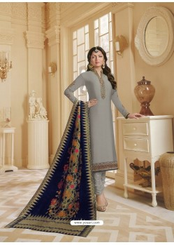 Grey Georgette Satin Floral Worked Churidar Suit
