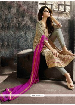 Beige And Grey Georgette Pant Style Suit