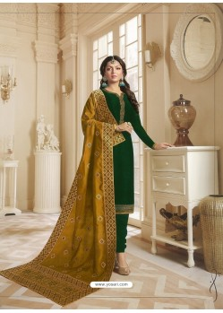 Dark Green Georgette Satin Floral Worked Churidar Suit