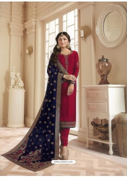 Maroon Georgette Satin Floral Worked Churidar Suit