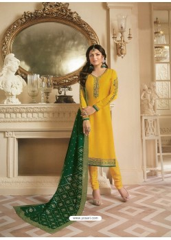 Yellow Georgette Satin Floral Worked Churidar Suit